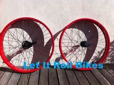 """BICYCLE RED FAT WHEEL 26"""" X 80MM FRONT or REAR CRUISER CHOPPER BIKES CYCLING NEW"""