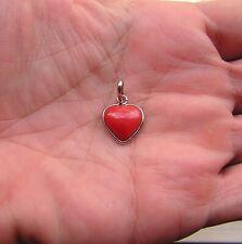 huge pendant natural Natural Red Heart EXTRA CORAL  original ITALY