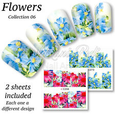 2x Full Cover Nail Art Water Stickers Wraps Transfers Wildflowers Asters Z273