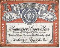 Budweiser Retro Label Bud Beer Weathered Wall Bar Pub Decor Metal Tin Sign New