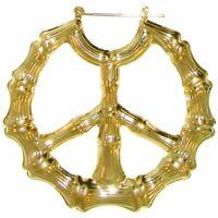 """2.5"""" Bamboo Peace Hoops Hoop Earrings"""