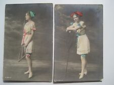Two Girl with Fishing Net Old 1910s RPPC Color Postcard; 2 Poses; Britain