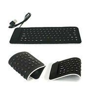 USB Mini Flexible Silicone Keyboard Foldable for Laptop Notebook Black