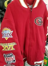 Authentic NFL Mens 49er's 5X Super Bowl Championship Letterman Jacket Size L