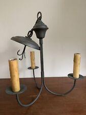 Antique Colonial Primitive 3 Light Chandelier Pendant Light Candelabra