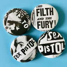 X4 25MM ONE OF A KIND FILTH AND FURY THE SEX PISTOLS PUNK BUTTON PIN BADGES