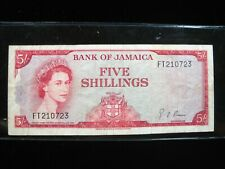 JAMAICA 5 SHILLINGS 1960 BRITISH CIRC 23# CURRENCY BANKNOTE PAPER MONEY