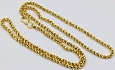 22K YELLOW SOLID GOLD CHAIN ROPE NECKLACE 3 MM FLEXIBLE CHAIN UNISEX JEWELRY