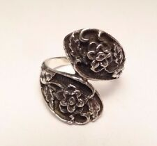 VINTAGE FLORAL FLOWER BYPASS RING STERLING SILVER 925 SIZE 7.75 SIGNED