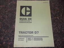 CAT CATERPILLAR D7 TRACTOR GUIA DE LUBRICACION Y CONSERVACION MANUAL