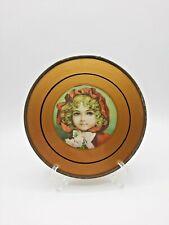 Ant. Victorian Chimney Flue Cover Gold Glass Litho Print Portrait Girl Red Hood