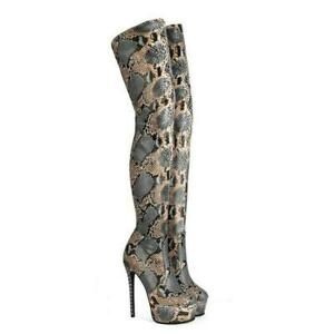 Womens Snakeskin Printed Platform Stilettos High Heels Over The Knee Boots Ladys
