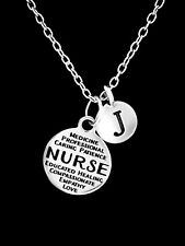 Nurse Necklace Initial RN LPN Medical Jewelry Christmas Gift