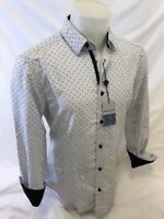 Mens BERTO ROMANI Designer Shirt LONG SLEEVE SLIM FIT WHITE GEOMETRIC DESIGN 051