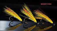 3 X MICKEY FINN SALMON flies doubles size 12 ladyflytyer