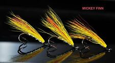 3 X MICKEY FINN SALMON flies doubles size 6 ladyflytyer