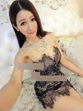 Korean Style Causel Sleeveless  Lady Dress Fashion Strapless V Deep Gauze Lace