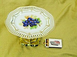 Tafelaufsatz Etagere  Anbieteschale mit Obstdekor dbr. Porzellan Messing #P1104