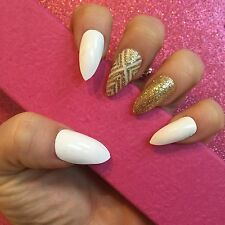 Hand Painted Full Cover False Nails. Stiletto White & Gold Glitter . 24 Nails