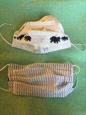 Handmade Washable Reversible Bears in Winter/Striped Interfaced Face Mask