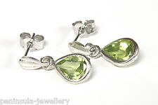 9ct White Gold Peridot Teardrop Dangly Earrings Gift Boxed Birthday Gift