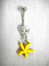 On Dazzling Clear Cz Bar Belly Ring New Yellow Starfish Beach Fun 2 Sided Charm
