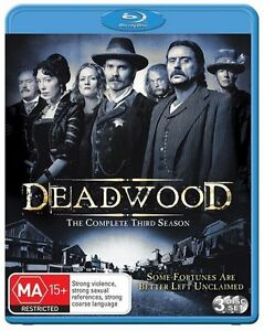 Deadwood Season 3 (3 Disc Blu-ray) Region B HBO Rare New & Sealed!