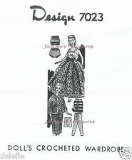 7023 Vintage Doll Clothing Pattern fits Barbie 11.5 in. Mail Order Crocheted