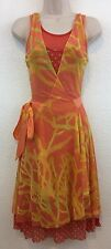 FUZZI Jean Paul Gaultier L Orange Floral Mesh Sleeveless Wrap Dress Large