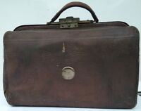 Antique Doctor Vintage Leather Bag or Medical Case, Satchel or Travel Bag