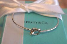 """Tiffany & Co Sterling Silver / 18K Love Knot Hook Eye Bracelet 6 - 6 1/2"""" wrist"""