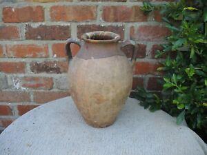 """Antique French  Terracotta Confit Pot Olive Pot  Garden Planter 12"""" High (722)"""