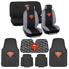 Superman Full Gift Set - Rubber Floor Mats, Seat Covers, Autoshade Car & SUV