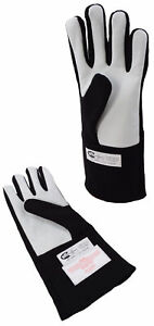 SPRINT CAR RACING GLOVES SFI 3.3/5 DOUBLE LAYER DRIVING GLOVES BLACK SMALL .