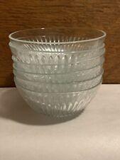 6 Vintage Kig Malaysia clear Glass Salad Bowls bowl, Starburst pattern Set Of 6