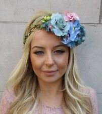 Rose Gold Turquoise Pink Blue Hydrangea Flower Headband Garland Hair Crown 5578