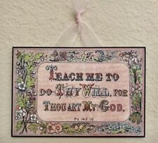 """Vintage Victorian Christian """"Teach Me To Do Thy Will"""" Scripture Plaque  5"""" x 7"""""""