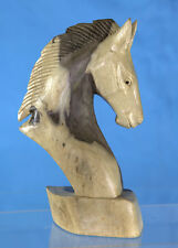 Hand Carved Wooden Horse Head Small Bust - Western Statue Sculpture, Unique Art