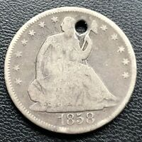 1858 Seated Liberty Half Dollar 50c Better Grade Holed #16256