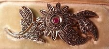 RUSSIAN ANTIQUE BROOCH  GILD DIAMONDS RUBY SILVER 88 BOX St. Petersburg c.1907