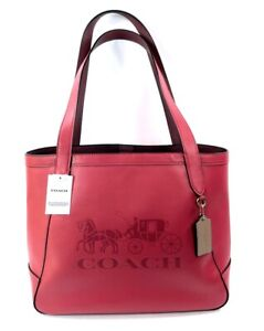 Coach Embossed Leather Horse and Carriage Tote Poppy with Mauve NWT $378