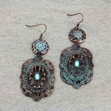Western Turquoise Patina Copper-tone & Turquoise Faux Stone Concho Hook Earrings