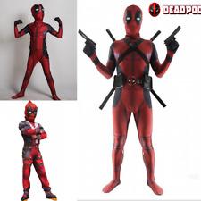 Adult Kids BOY Deadpool Lycra spandex/Muscle Cosplay Jumpsuit Book Week Costume