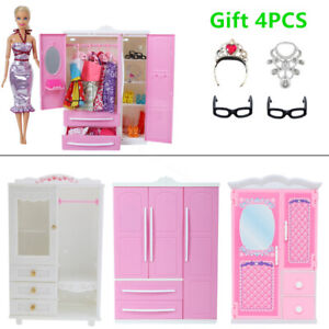 Doll Wardrobes With Jewellery For Barbie Doll Bedroom Home Furniture Playhouse