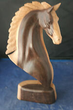 More details for beautiful hand carved horse head by a master carver in suar wood 12