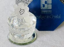 Vintage Swarovski Crystal Round Treasure Box Frosted Flower Lid Mint in Box NOS