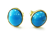 18k Yellow Gold Oval Turquoise Stud Earring ~ 3.0g