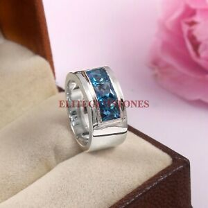 Natural London Blue Topaz Gemstone with 925 Sterling Silver Ring for Men's #5805