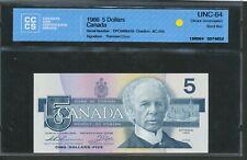 1986 $5 Bank of Canada CCCS UNC64. EPC Short Run Thiessen-Crow. BC-56b BV $275