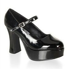 Funtasma Halloween Costume Shoes Women's Chunky Heel Platform Mary Jane PUMPS Black Pat 9